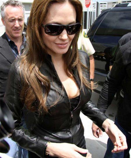 Angelia Jolie Black Stylish Leather Jacket